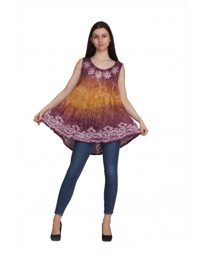 10 Pcs Casual Loose Tie Dyed Tunic Tops