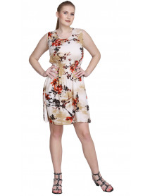 04 Short Printed Stylish Women Office Sleeveless Dresses