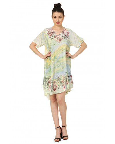 10 Summer Mini Colorful Dress with Short Sleeve