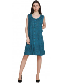 10 Stonewash Mix Designs Embroidered Knee Length Dresses