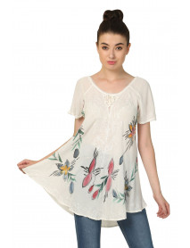 50 White Umbrella Short Sleeve Tops for Women