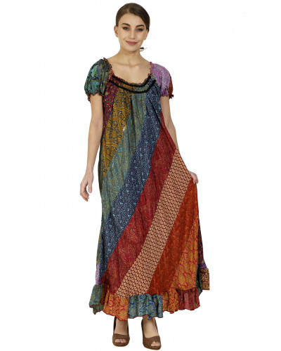 50 Women Long Summer Evening Multi Colour Dress