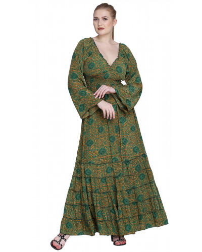 Pack of Women V-Neck Printed Long Dress with Sleeves
