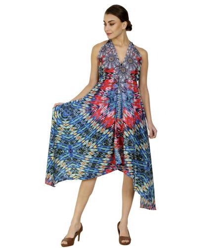Long Halter Digital Printed Beach Dress - Pack of 05 Pcs