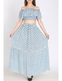 05 Pcs Printed Two Piece Dress - Wevez