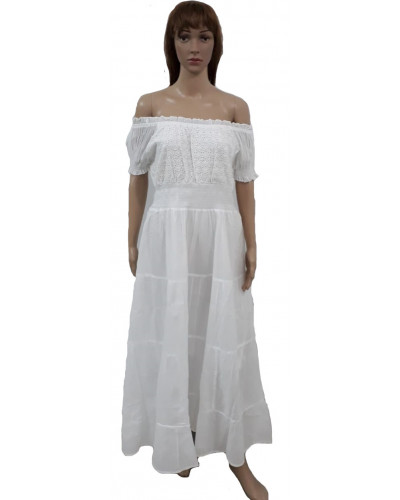 Boat Neckline White Long Graduation Dress - wholesale Pack of 50