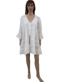 White Button Up Shirt Dress - Pack of 50