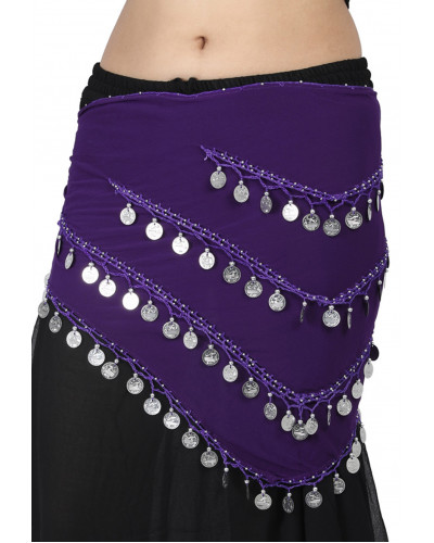 12 Belly Dance Fusion Long Belly Dance Hip scarf with Coins