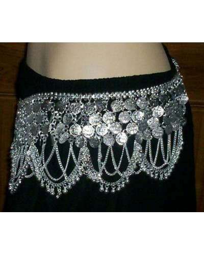 Belly dance metal coin belt silver