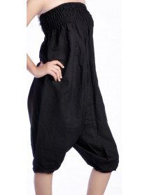 05 Black  Women summer plain harem pants