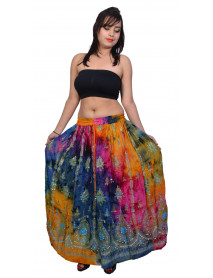 05 Pcs Tie Dye Sequin Long Maxi Embroidery Skirt