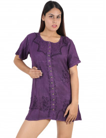05 Stonewash Denim Shirt Short Dress for Ladies