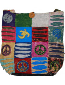 10 Bohemian Peace Sign Sling Crossbody Monk Bag