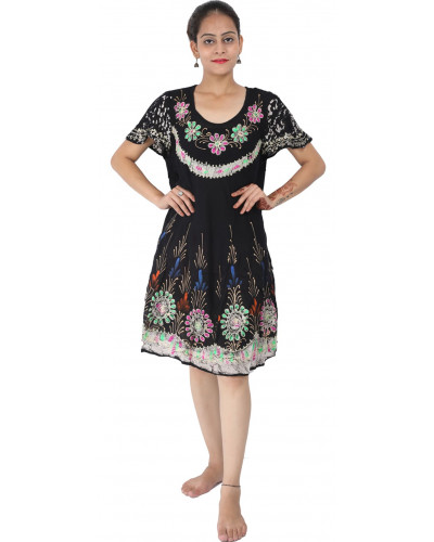 10 Cape Sleeves Black Floral Maxi Dress for Women