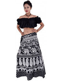 10 Rajasthani High Waisted Block Printed Cotton Wrap Skirts