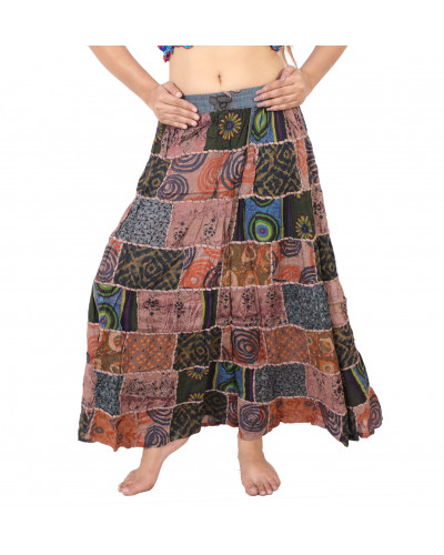 10 Women Full Length Elastic Pleated Tiered Maxi Long Patch Skirt