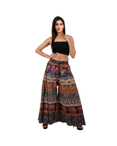 10 Womens Floral Printed High Waisted Wide Leg Pants