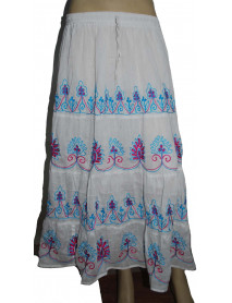 100 Boho Plain Hem Embroidery Skirt