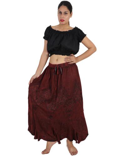 100 Peasant Boho Denim Style Stonewash Full Length Skirt