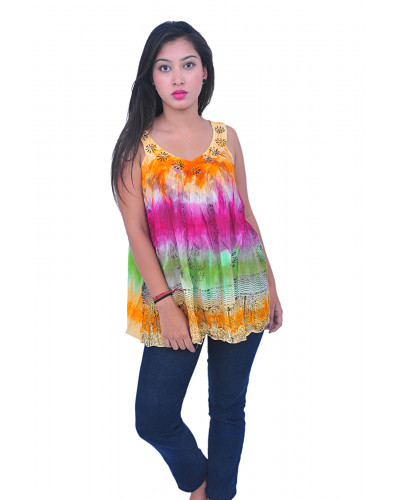 100 Rayon tie dye Embroidery Top
