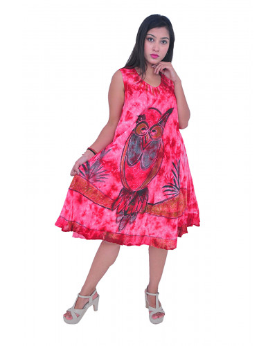 100 Sleeveless Elegant Beach Summer Dress with Owls Design