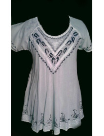 100 Wevez White Embroidery Maxi Tops