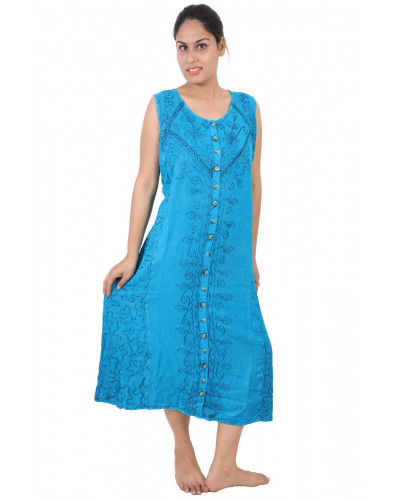 100 Wide Shoulder Strap Stonewashed Rayon Embroidered Dress