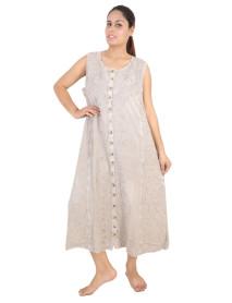 100 Wide Shoulder Strap Stonewashed Rayon Embroidered Dress