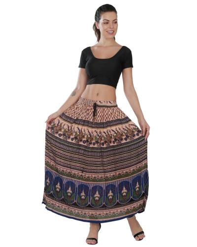 100 Women's Bohemian Style Elastic Waist Band Cotton Long Maxi Skirt