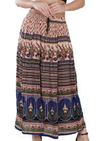 10 Women's Bohemian Style Elastic Waist Band Cotton Long Maxi Skirt