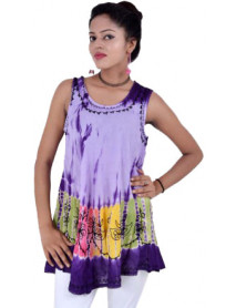 100 Women Tie Dye Sleeveless Rayon Tops