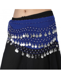 12 Belly Dance Performance Belt Hip Scarf with Silver Coins
