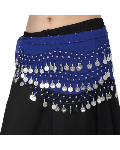 60 Belly Dance Performance Belt Hip Scarf with Silver Coins