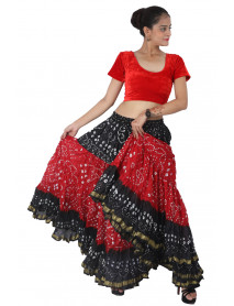 20 Yard Art Silk Blended Polka Dot Jaipuri Skirt