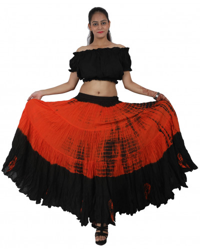 25 yard Tribal Skirt - Black/Orange Tie Dye