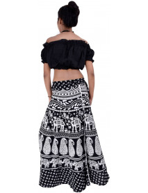 5 Wholesale Ladies Printed Cotton Long Wrap  Skirts
