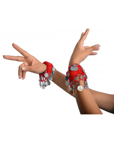 50 cuff Belly Dancing Hand Bracelets Bands with Silver Coins