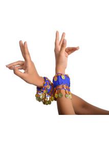 50 Gold Coins Chiffon Belly Dance Elastic Wristbands