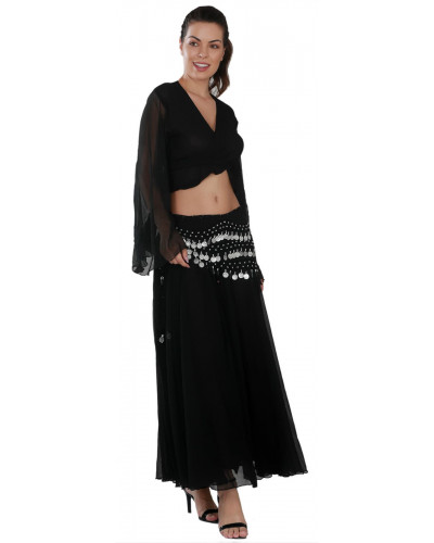 Arabian Black Chiffon Belly Dance Costume Set - (Skirt + Top + Coin Scarf)