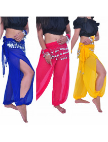 Belly Dance Balloon Trousers Tribal Harem Pants with Coin Scarfs