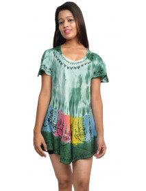 India Rayon Tie Dye Tops Wholesale 10 Pcs Pack