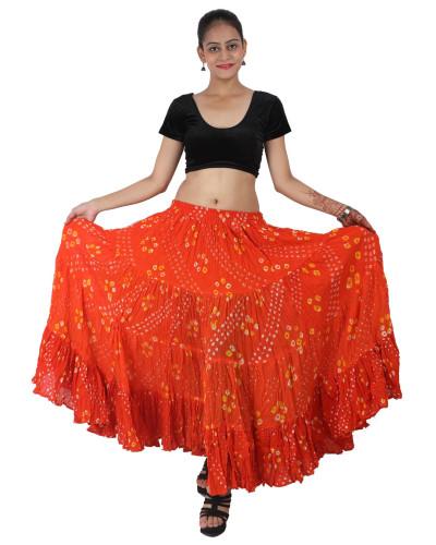 Orange Bhangra Tribal Fusion polka dot skirt Spotties