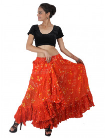 Orange Bhangra Tribal Fusion polka dot skirt Spotties
