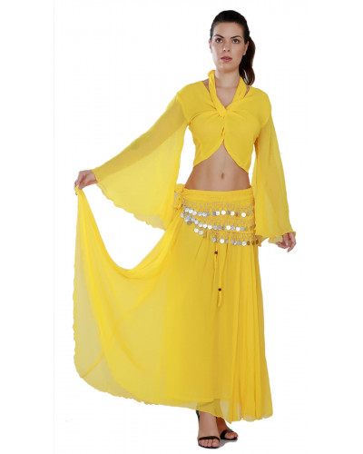 Persian ATS Belly Dance Costume Set - Skirt, Top, Coin Scarf