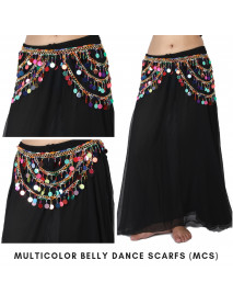 Tribal belly dance belt 10 Pc Multi Scarves