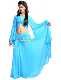 Turquoise Women Belly dancing costumes for sale - (Skirt + Top + Coin Scarf)