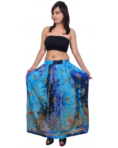 Tie Dye Sequin Long Maxi Embroidery Skirt