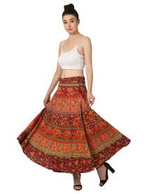 5 Wholesale Ladies Printed Cotton Long Wrap  Skirts