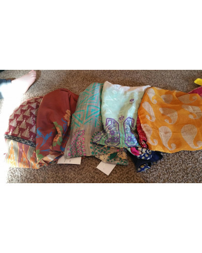 "10 Vintage sari silk skirts 20"" ethically made"