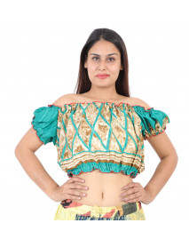 10 Women Sari Fabric Tribal Print Tops Sale
